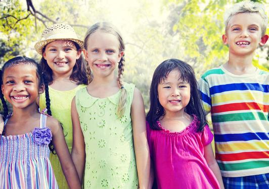 Diversity Friends Children Park Happiness Concept